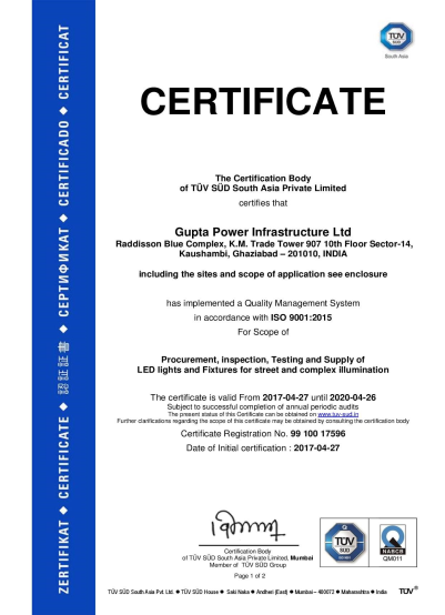 Certificate one